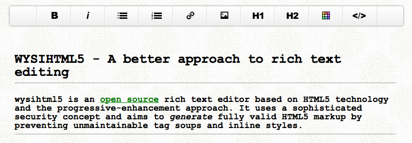 WYSIHTML5: Open Source HTML5 Rich Text Editor