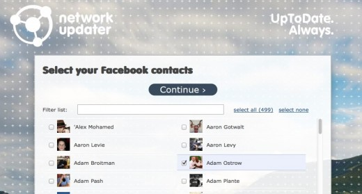 Select Facebook contacts NetworkUpdater.com  520x279 Networkupdater lets you know when your Facebook or Twitter friends make profile changes
