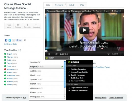 amara obama 520x397 Knight Foundation and Mozilla invest $1m in crowdsourced video translation project Amara