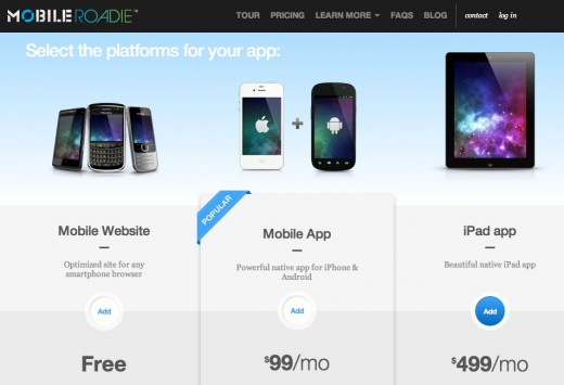 mobile roadie pricing 520x355 Mobile Roadie now lets you easily create custom iPad and mobile Web apps [Interview]