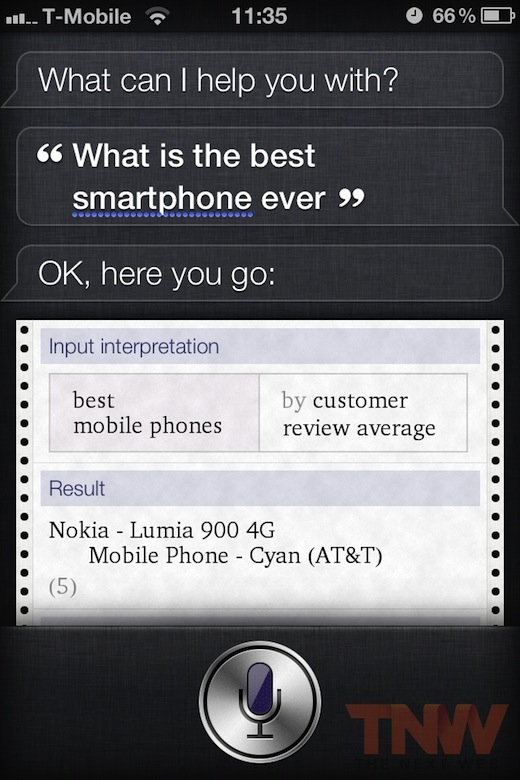 smart1 Apples Siri: the best smartphone ever is the Nokia Lumia 900. Wait, what?