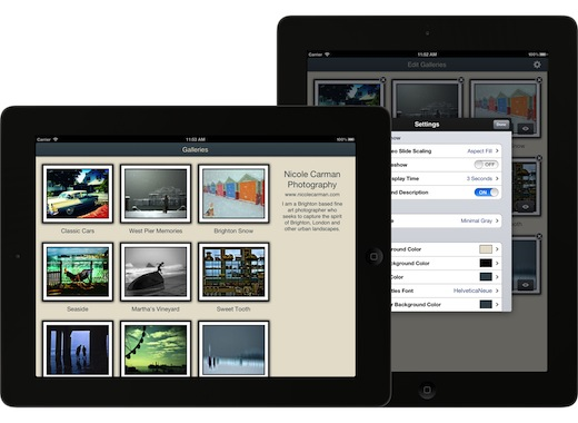 themes settings screens Portfolio Pro for iPad: The perfect way to store and display your photo and video portfolios on the go