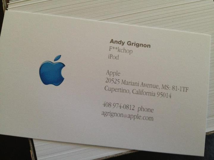 Steve jobs called key apple manager a quotfuckchopquot for Business development titles for business cards