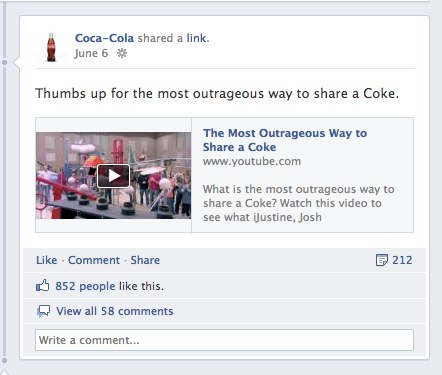 2 Coca Cola 1 Now that follow us on Facebook has replaced the website for brands, what will be next?