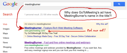 MeetingBurner Search GoToMeeting uses competitors name in search ads to trick people into clicking through