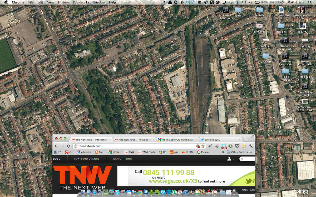 Satellite Eyes Switches Your Macs Wallpaper to a Map of Your Location – Bing Maps Satellite View