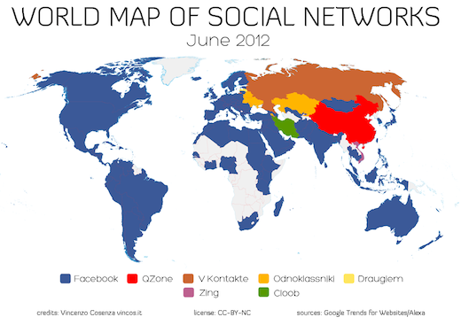 Russia Global Map.World Map Of Social Networks Shows Facebook S Global Dominance