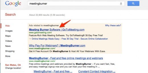 meetingburner Google Search 1 520x257 GoToMeeting uses competitors name in search ads to trick people into clicking through