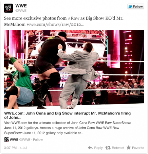wwe 1 520x538 Twitter teams up with media companies for more content in expanded tweets