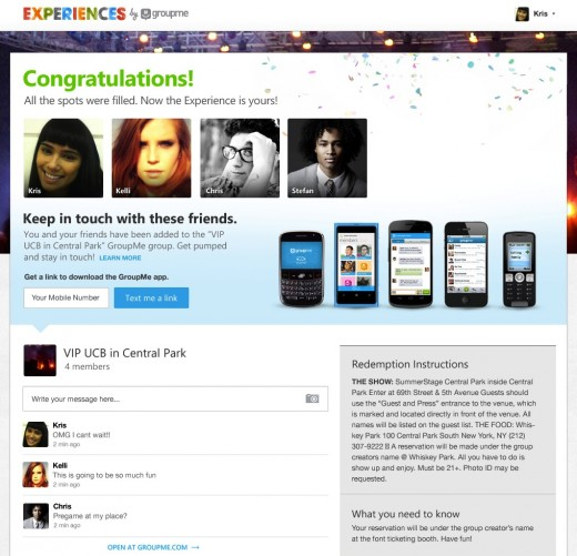 7 Confirmation Page 520x501 GroupMe launches Groupon like service to help you plan, discover and pay for your night out