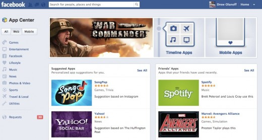 App Center 520x278 Facebook rolls outs its App Center to Brazil, France, Germany, Russia, Spain, Taiwan and Turkey