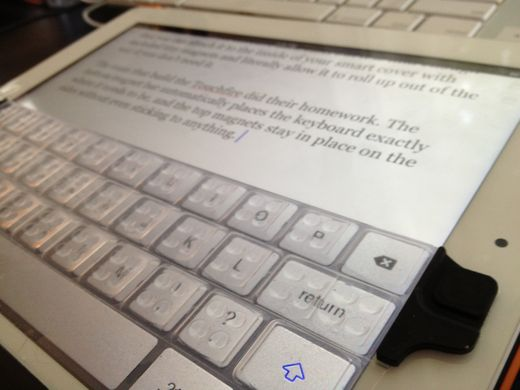 This iPad keyboard lets you touch type on your screen, then roll it up in your Smart Cover