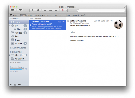 Mail VIP inbox 520x377 TNW Review: OS X 10.8 Mountain Lion