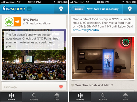 Foursquare isnt just for exploring, with Local Updates you can connect with nearly 1M merchants