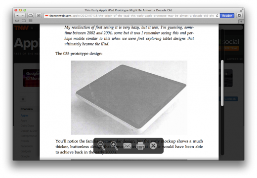 Reader view 520x362 TNW Review: Safari 6.0 is the best version of Apples browser yet