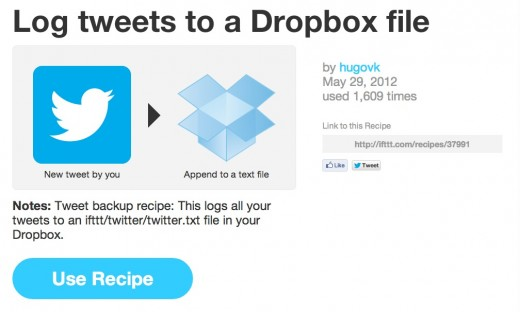 Screen Shot 2012 07 03 at 11.58.34 AM 520x312 Save an archive of your Tweets to Dropbox with these sweet IFTTT recipes