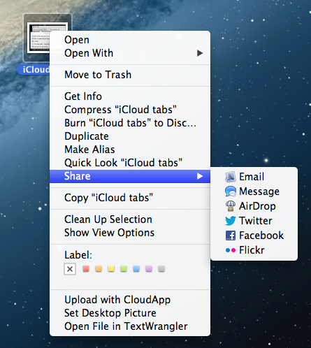 Sharing System Context Menu TNW Review: OS X 10.8 Mountain Lion