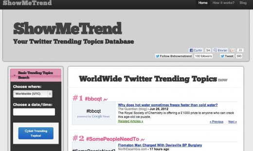 ShowMeTrend Trending Topics Database WorldWide Trending Topics now 1 520x311 ShowMeTrend is a great way to keep yourself updated on trending topics from Twitter