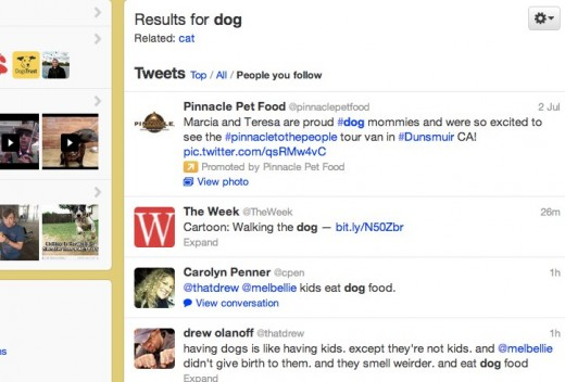 Twitter   Timeline Search dog 520x352 Hands on with Twitters new Simpler Search: Timeline search is a game changer