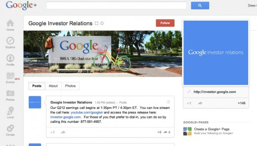 googlesocial 520x296 Social investing: Google now has an Investor Relations page on Google+