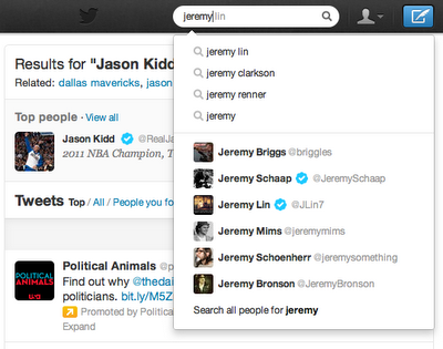 jeremy lin typeahead 11 New Twitter search experience revealed: includes autocomplete, Spelling corrections, related suggestions and more