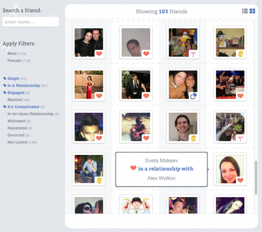preview 520x461 RelationBook lets you find out the relationship status of your Facebook friends