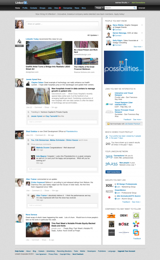 simplerhomepage 520x842 The LinkedIn cleanup continues: Announces new, more streamlined homepage design
