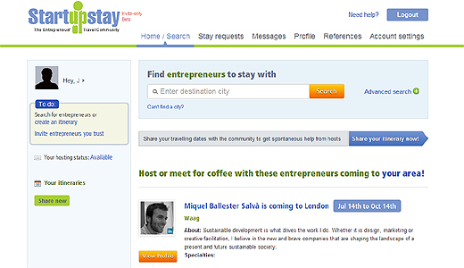 startupstay520a StartupStay offers entrepreneurs a free system of accommodation and networking