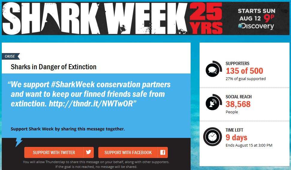 Shark Week Gets a Thunderclap Push for Social Conservation