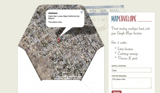 Map Envelope 520x303 Genius: Print out an envelope that shows your exact location thanks to Google Maps