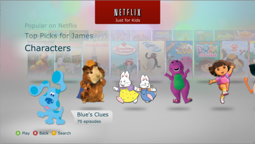 NetflixJustForKids 520x293 Netflix launches updated Xbox 360 app with Just for Kids section aimed at under 12s
