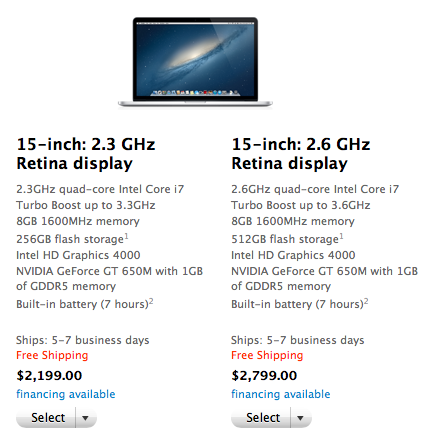 Screen Shot 2012 08 02 at 9.05.00 AM Apple now shipping Retina MacBook Pros in 5 7 days in the US and UK, down from 1 2 weeks