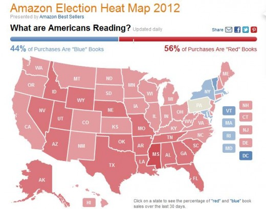 Amazons Election Heatmap Shows Political Reading Tastes Heat Map Of Us