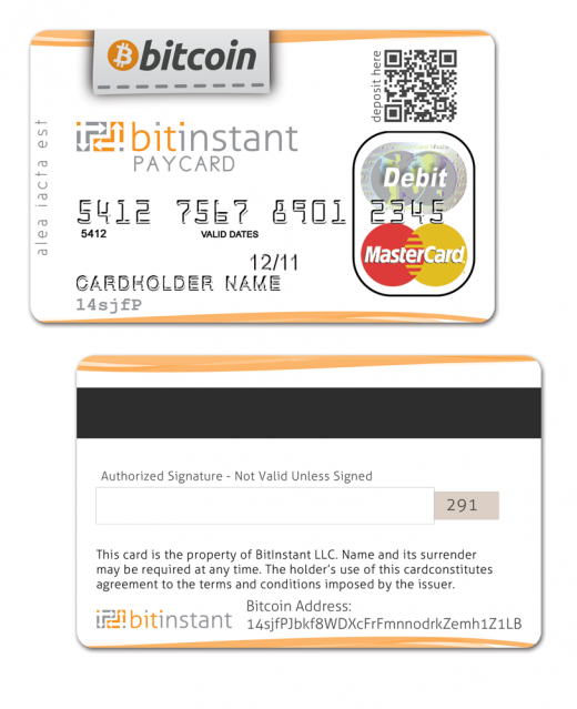 bitinstant bitcoin creditcard 520x639 BitInstant looks to bridge virtual and real world currencies with international Bitcoin credit card