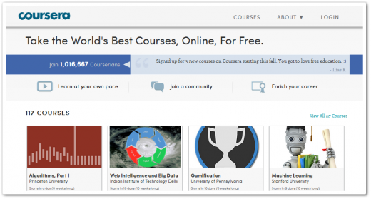 coursera 520x279 Web education platform Coursera hits 1m students just 4 months after launch