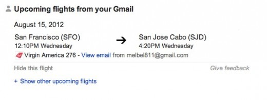 flight Google Search 520x195 Gmail emails to appear in Google search results in exclusive field trial