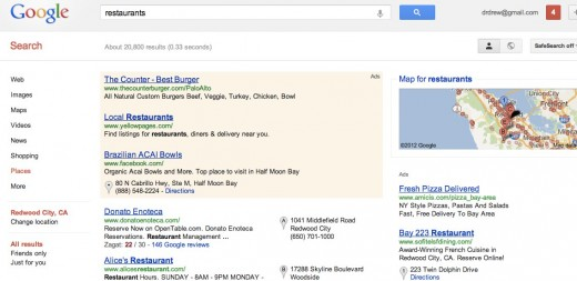 restaurants Google Search 1 520x253 Google plays some tricks with Im Feeling Lucky, adds Im Feeling Hungry and others