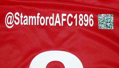 English football club Stamford AFC will include club's Twitter handle and QR code on players' ...