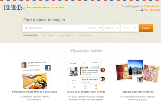 tripbirds 01 start page Tripbirds relaunches as a social hotel booking service based on Facebook and Instagram