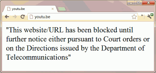 youtube blocked in india 520x246 The Government of India would like to have these URLs blocked promptly