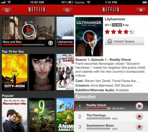 netflix ios 520x462 Netflix gets iPhone 5 and iOS 6 support, takes advantage of the new 16:9 screen