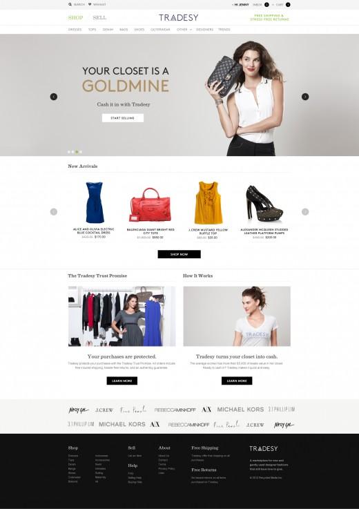 Tradesy homepage