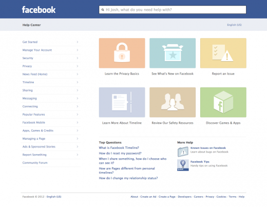 2012 newly redesigned Facebook Help Center