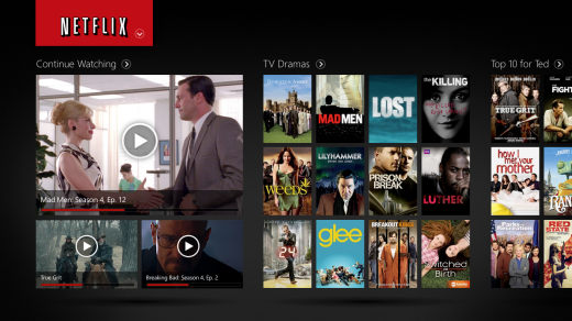 Netflix on Windows 8 2 520x292 Netflix debuts on Windows 8 tablets and PCs with a brand new modern UI styled app