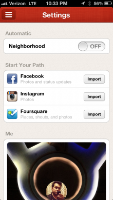 Path import 11 220x390 Path update brings Facebook, Instagram and Foursquare import feature to existing users