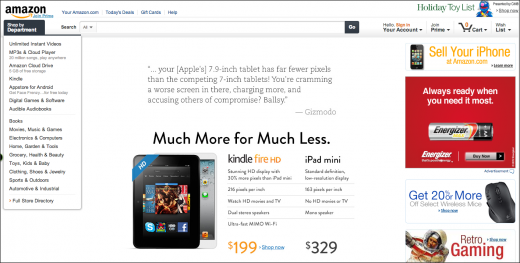 Snap 2012 10 28 at 14.16.02 520x263 Amazon goes on the offensive. Mocks Apple and compares Kindle Fire HD to iPad Mini on its homepage.