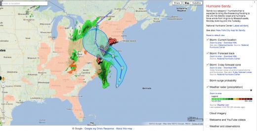 Google Crisis Response Map: Hurricane Sandy