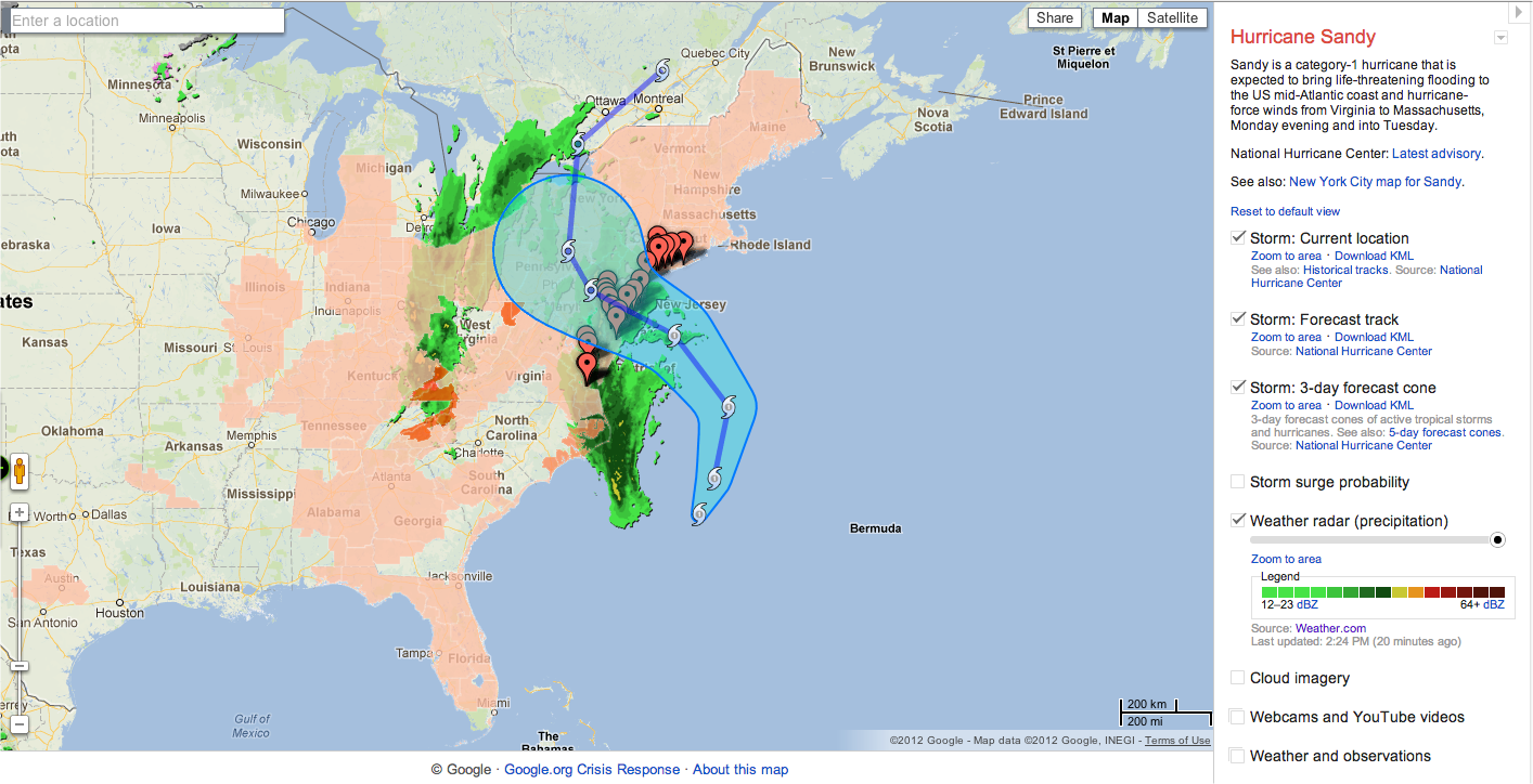 Google Produces Map Allowing You To Monitor Hurricane Sandy on google hurricane sandy, google earth sandy, goldman sachs hurricane sandy,