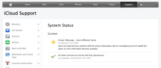 Apple system status - iCloud