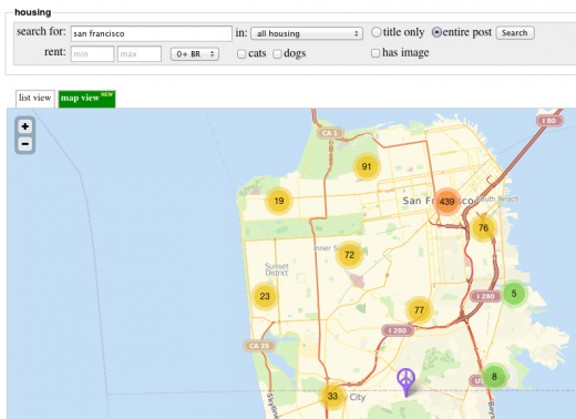 craigslist maps 520x378 Craigslist rolls out new Map View feature for apartment searches
